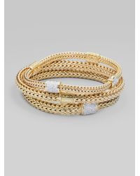 John Hardy - Metallic Diamond & 18k Gold Medium Chain Bracelet - Lyst