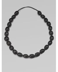Josie Natori - Black Pineapple Grove Horn Bead Necklace - Lyst