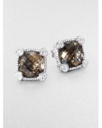Judith Ripka | Brown La Petite Smoky Quartz, White Sapphire & Sterling Silver Cushion Stud Earrings | Lyst