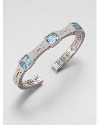 Judith Ripka - Three Stone Sterling Silver Cuff Braceletblue Quartz for Men - Lyst