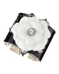 Kenneth Jay Lane - White Flower Hinge Enamel Cuff - Lyst