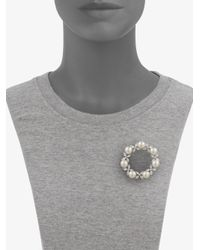 Majorica - Gray 10mm White Pearl Circle Brooch - Lyst