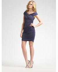 Nicole Miller | Purple Off-the-shoulder Ruched Dress | Lyst
