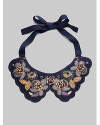 Piazza Sempione Blue Floral Embroidered Bib Necklace