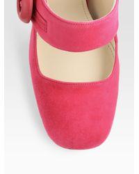 Prada | Pink Suede Mary Jane Pumps | Lyst