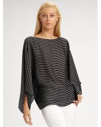 Ralph Lauren Black Label | Black Vivan Striped Silk Top | Lyst