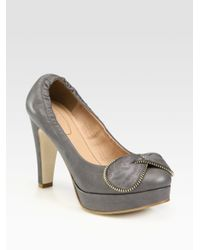 See By Chloé | Gray Leather Bow Platform Pumps | Lyst