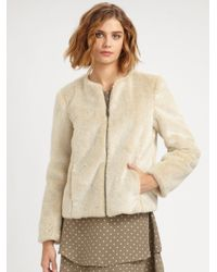 Steven Alan | Natural Stevie Cropped Faux-Fur Coat | Lyst