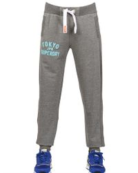 Superdry Gray Vintage Printed Cotton Fleece Trousers for men