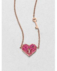 Sydney Evan | Pink Ruby & 14k Rose Gold Heart Key Pendant Necklace | Lyst