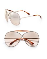 Tom Ford | Gray Metal Cross-over Aviator Sunglasses | Lyst
