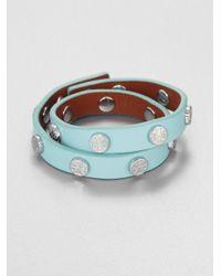 Tory Burch Green Double Wrap Logo Studded Leather Bracelet