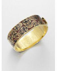 Alexander McQueen | Metallic Enamel Skull Cuff Bracelet | Lyst