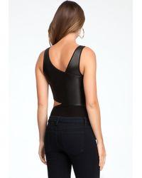 Bebe Black Asymmetric Leatherette Bodysuit