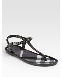 ac689b95c87 Burberry Jelly Thong Sandals in Black - Lyst