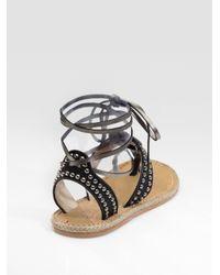 Christian Louboutin - Black Flat Gladiator Sandals - Lyst