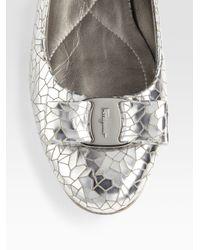 Ferragamo - Varina Metallic Leather Ballet Flats - Lyst