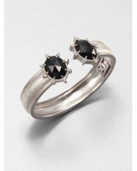 Judith Ripka Galaxy Black Onyx, White Sapphire & Sterling Silver Cuff Bracelet