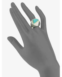 Kara Ross - Metallic Turquoise Pyramid Ring - Lyst