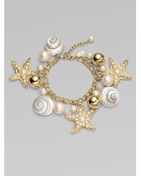 kate spade new york Metallic Shell Bead and Faux Pearl Charm Bracelet