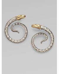 Konstantino Metallic Sterling Silver 18k Yellow Gold Snake Earrings