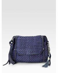 Olivia Harris - Blue Dirty Basket Weave Crossbody Leather Bag - Lyst