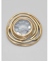 Oscar de la Renta - Metallic Clear Crystal Brooch - Lyst