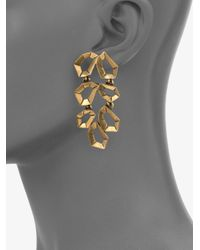 Oscar de la Renta - Metallic Polygon Link Earrings - Lyst
