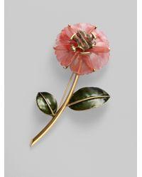 Oscar de la Renta | Pink Flower Brooch | Lyst