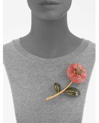 Oscar de la Renta Pink Flower Brooch