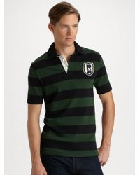 f63313c4 Polo Ralph Lauren Customfit Striped Rugby Shirt in Green for Men - Lyst