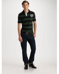 Polo Ralph Lauren - Green Customfit Striped Rugby Shirt for Men - Lyst
