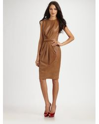 Robert Rodriguez - Brown Leather Belted Dress - Lyst