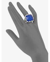 Stephen Webster Blue Agate & Quartz Crystal Sterling Silver Ring