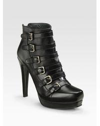 Stuart Weitzman - Black Buckled Ankle Boots - Lyst