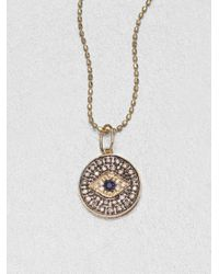 Sydney Evan | Metallic Diamond & 14k Gold Small Evil Eye Medallion Pendant Necklace | Lyst