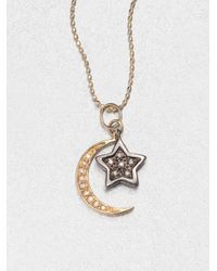 Sydney Evan - Metallic Diamond 14k Gold Star Moon Pendant Necklace - Lyst