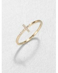 Sydney Evan | Metallic Diamond & 14k Yellow Gold Bent Cross Ring | Lyst