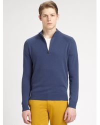Theory - Blue Lorenz Halfzip Cashmere Sweater for Men - Lyst