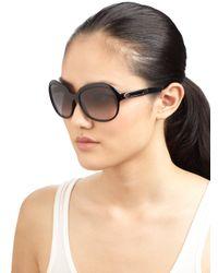 Tod's Black Round Acetate Metal Sunglasses