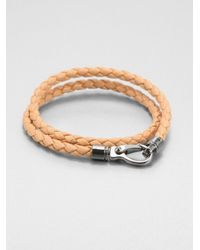 Tod's | Natural Leather Double-Wrap Bracelet | Lyst
