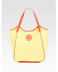 Tory Burch | Red Slouchy Woven Raffia Tote | Lyst