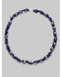 ABS By Allen Schwartz Blue Glass Pearl Ribbon Strand Necklace