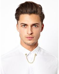 ASOS - Metallic Bull Dog Collar Pins with Chain for Men - Lyst