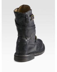 Burberry Black Blanchard Explorer Leather Buckle Boots