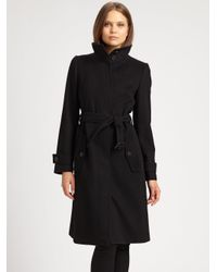 Burberry - Black Wool/Cashmere Belted Coat - Lyst