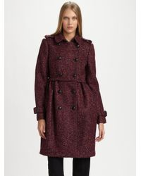 Burberry - Red Double Breasted Tweed Coat - Lyst