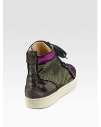Christian Louboutin | Multicolor Rantus Orlatotrainer Suede and Metallic Lace-up Sneakers | Lyst