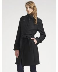 Cole haan Belted Wool Coat in Black | Lyst