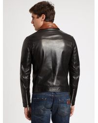 DSquared² Brown Leather Bomber Jacket for men